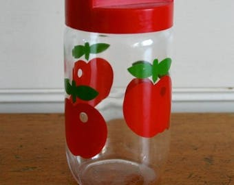 Vintage glass jar/canister with plastic lid