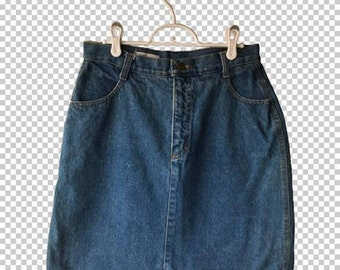 Sz 13 90s Sloane Denim Mini Skirt // 1990s Basic Jean Skirt