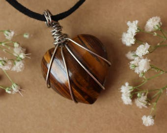 Tigers Eye Stone Heart Pendant, Wire Wrapped Stone Heart Pendant, Crystal Healing Necklace
