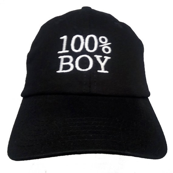 100% BOY (Youth Dad Cap Polo Style Ball Cap - Black with White Stitching