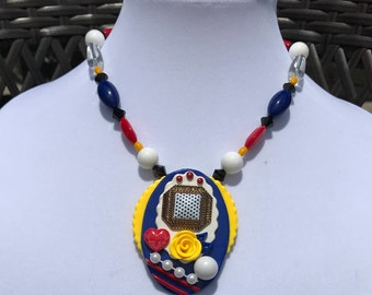 Pendant Necklace // Geometric Pendant // Primary Colors Polka Dot Necklace // 80s Victorian // Laura Ashley Necklace // Heart and Rose