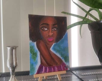 Small canvas panel art, small black art, African American art, black woman art, original black artwork, afrocentric wall art, black artist