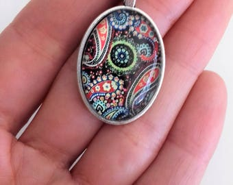 Majolica like etsy glass tile pendant mandala pendant talavera jewellery paisley supplies glass cabochon colorful mozeypictures Image collections