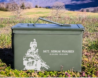 Soldier Ammo Can Design which you can personalize with name & dates