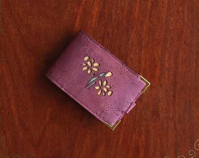 Mini card wallet made from vegan purple cork leather/fabric enhanced with a daffodil design backed in yellow and green cork leathers