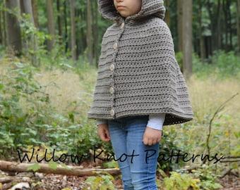 CROCHET PATTERN - The Wildwood Cape (1/2, 3/4, 5/7, 8/10, 11/13, 14/16, S/M, L/XL) - crochet cape pattern crochet hood -Instant pdf Download