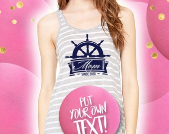 Nauty Mom, nautical Mom, Nautical, Tank top custom design, mothers days, grey, top mom, tees