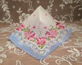 Vintage Handkerchief, Blue Border Hanky, Blue Pink Floral Hanky, Cotton Voile Hankerchief, Pink Flower Hanky