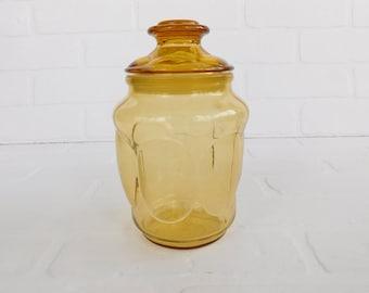Vintage Gold Glass Canister Jar, Kitchen Storage Jar, Gold Glass Candy Jar
