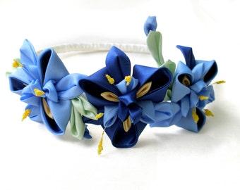 Iris flower girl crown Adult headband Teen girl headband Floral crown Kanzashi Bridesmaid flower crown Flower girl wreath Birthday gift idea