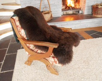 Real Sheepskin rug - pelt - 100% natural - UNDYED - SUPER SOFT - very big - brown -shaggy - large -ready for shipping -made in Ireland