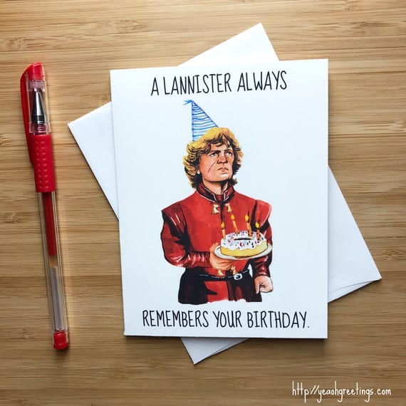 Tyrion Lannister Birthday Card Game Of Thrones Card