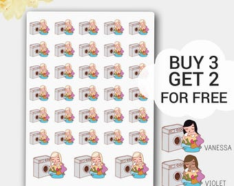 Girl Planner Stickers for Erin Condren Planner, Laundry Planner Stickers, Washing Stickers, Planner Stickers, Happy Planner Laundry Sticker