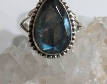 Beautiful Faceted Labradorite Ring, Size 9 1/2