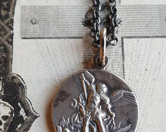 French Oxidized Sterling Silver Saint Michael Medal Necklace Catholic Jewelry Archangel Saint Catholic Medal St Michele Michael