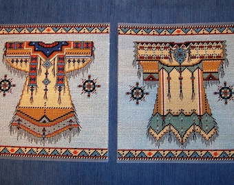 Set of 2 Native American Dress Pictures - Needlepoint on Plastic Canvas