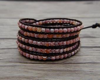 Red Matt beads Bracelet Leather Wraps Bracelet Boho Bracelet Brown Leather Bracelet Dragon grain beads bracelet Jewelry SL-0558