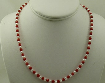 Freshwater White Pearl and Italian Coral Necklace 14k White Gold Clasp 18.5""