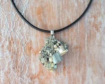 Necklace pyrite (pyrite) - 925 Silver - leather - unique - gift -.