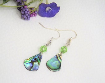 Earrings with abalone Paua shell-925 silver fish hook-gift-