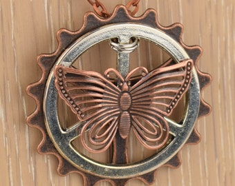 Steampunk Butterfly Necklace with Gears, Industrial Necklace, Cosplay, Steampunk Gift, Steampunk Jewelry, Steampunk Pendant - N170012