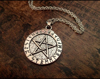 Pentagram rune necklace gothic viking amulet runes rune circle celtic protector