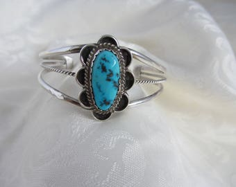 Native American, Navajo, Sterling Silver Turquoise Flower Cuff Bracelet Signed JS Larger Size