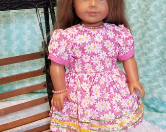 Pink with Dasies Summer Dress Outfit - American Girl & Friends