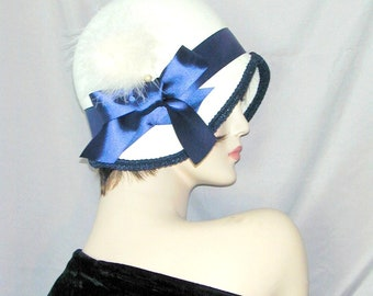 Custom Convertible handmade 6 in 1 cloche bowler with fascinator - Downton Abbey hat, Miss Fisher, Great Gatsby hat
