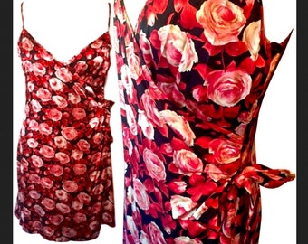 Betsey Johnson Floral Roses Red/Black Spaghetti Strap Cover Up Wrap Sundress 6/8/10 M