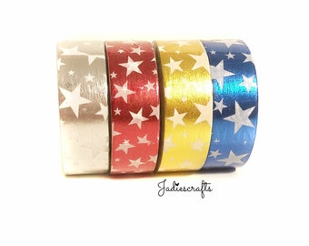 Silver, Red, Gold & Blue Foil Star Washi Tape