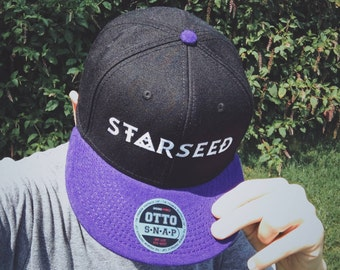 STARSEED Snapback Hat - Metaphysical Head Ornament - Premium Embroidery, Wool Blend, One Size Fits Most - Cosmic Black/Purple