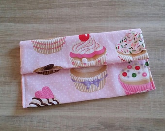 Fabric pouch for storing CUPCAKES canteen towel personalized.