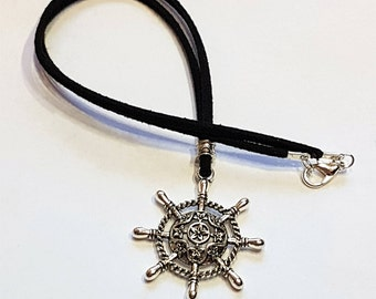 Ship Wheel choker or necklace, custom lengths, black suede, unique chokers, sailor jewellery, gift for her, nautical jewelry, captain wheel