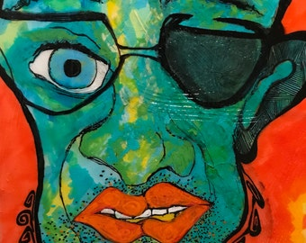 Wall, Outsider, Folk, Art, Intense, face, 1/2 shaded, eye, glasses, colorful, BRIGHT, textured, painted, image, hand made, Larry Cutler OOAK