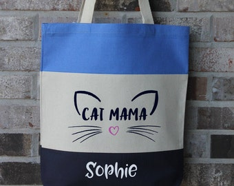 Personalized Cat Gift - Mothers Day Gift - Cat Lady Gift - Cat Lover Gift - Crazy Cat Lady - Cat Tote Bag - Large Canvas Tote - Reusable Bag