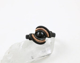 Size 9 Black Star Diopside Ring