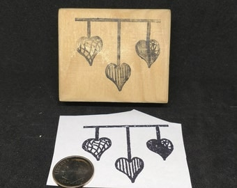 Hanging Heart rubber stamp