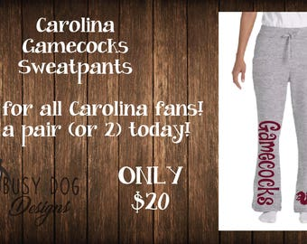 Gamecocks sweatpants, sports sweatpants, Carolina gamecocks inspired sports team sweatpants.