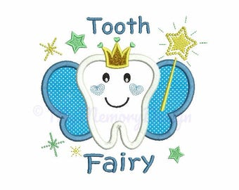 Tooth Fairy Applique Design - Tooth applique - Machine embroidery - Instant download pes hus jef vip vp3 xxx dst exp - 4x4 5x7 6x10 sizes
