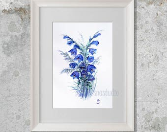 "Blue bells Original Watercolor Painting 8,5 x 11"" - A4, Art  Illustration  Home decor Wall art  Watercolor flowers Decor floral"