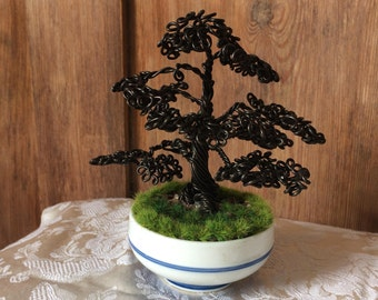 Miniature Wire Bonsai Tree Sculpture in the Style of an Ancient Oak