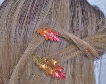 Fall Leaves Hair pins, Leaf Bobby Pins, Autumn Weddings, Fall Woodland Bridal, set of 2