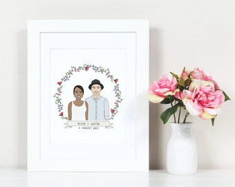 Custom Portrait, Couple portrait, Paper Anniversary Gift, Family Portrait, Custom Couple Portrait, Custom Family Portrait, Anniversary Gift