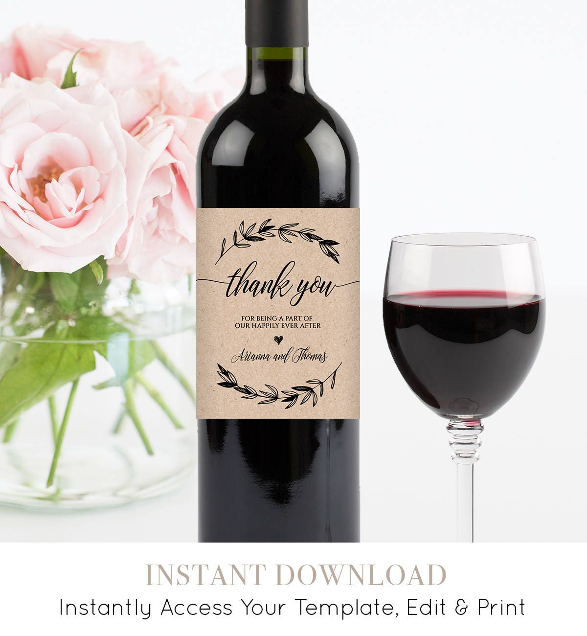 wedding wine bottle label printable wine label template 100 editable wine wedding favor. Black Bedroom Furniture Sets. Home Design Ideas