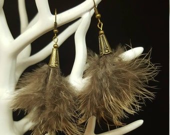 Bronze Feathers - chicken faisanne feathers - tassel - ethnic - Bohemian - hippie - Gypsy earrings