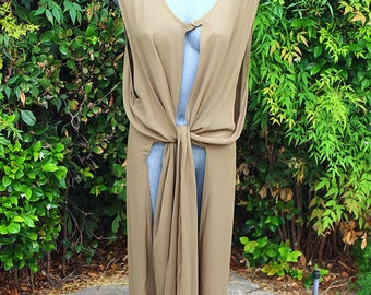 Vintage 90s Duster, Long Vest, Summer, Coverup, Hipster Style, Grunge, Vacation Wear, Green, Olive, 90s Maxi Dress, Size Medium