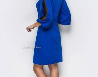 Dress Royal blue long sleeve Elegant Jersey dress casual wear Casual women's dress red Midi dress emerald Knee royal blue dress Day dress