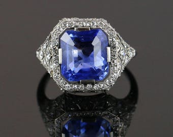 7ct No-heat Ceylon Sapphire Art Deco Ring