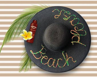 Beach Please Hat | Customized Gift | Personalized Hat | Wide Brim Sun Hat | Sequin Beach Hat | Black Beach Hat with Sequins